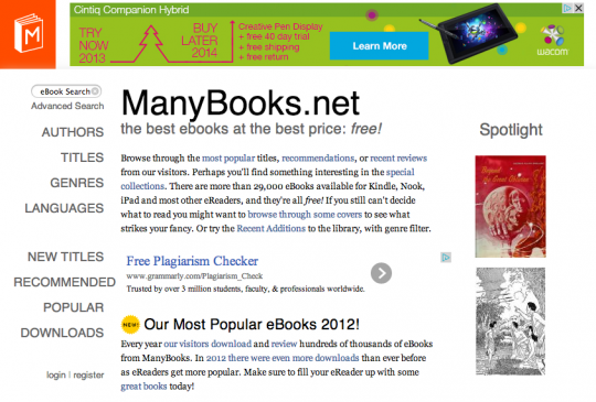 Manybooks - front page