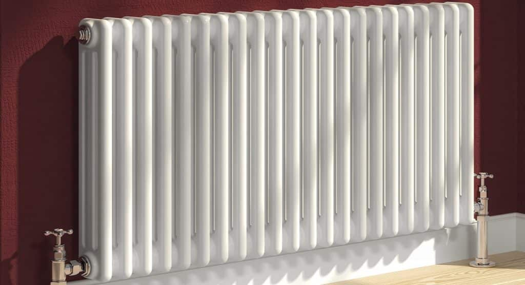white radiator with columns