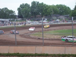 Chain-link fencing at an American short track