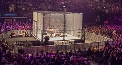 Chain-link, steel cage as used in an Impact Wrestling professional wrestling match