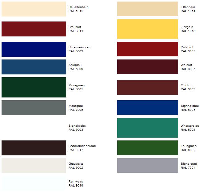 Таблица цветов профлистов