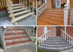 На крыльце – ступеньки для частного кирпичного дома, наружные лестницы для загородного коттеджа, уличные ступени